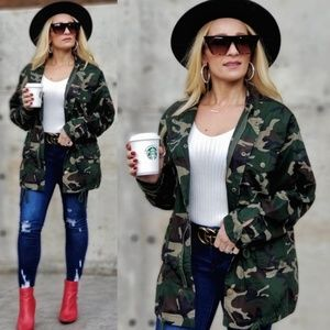 JANE Army Print Green Womens Jacket